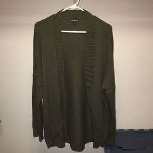 Express Olive Green Open Cardigan
